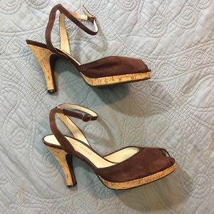 Antonio Melani Brown Suede Peep Toe Heels Sz 9